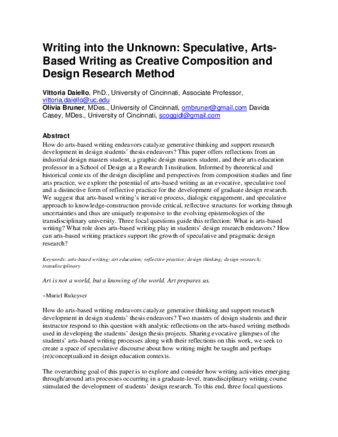 Article | Writing into the Unknown: Speculative, Arts-Based